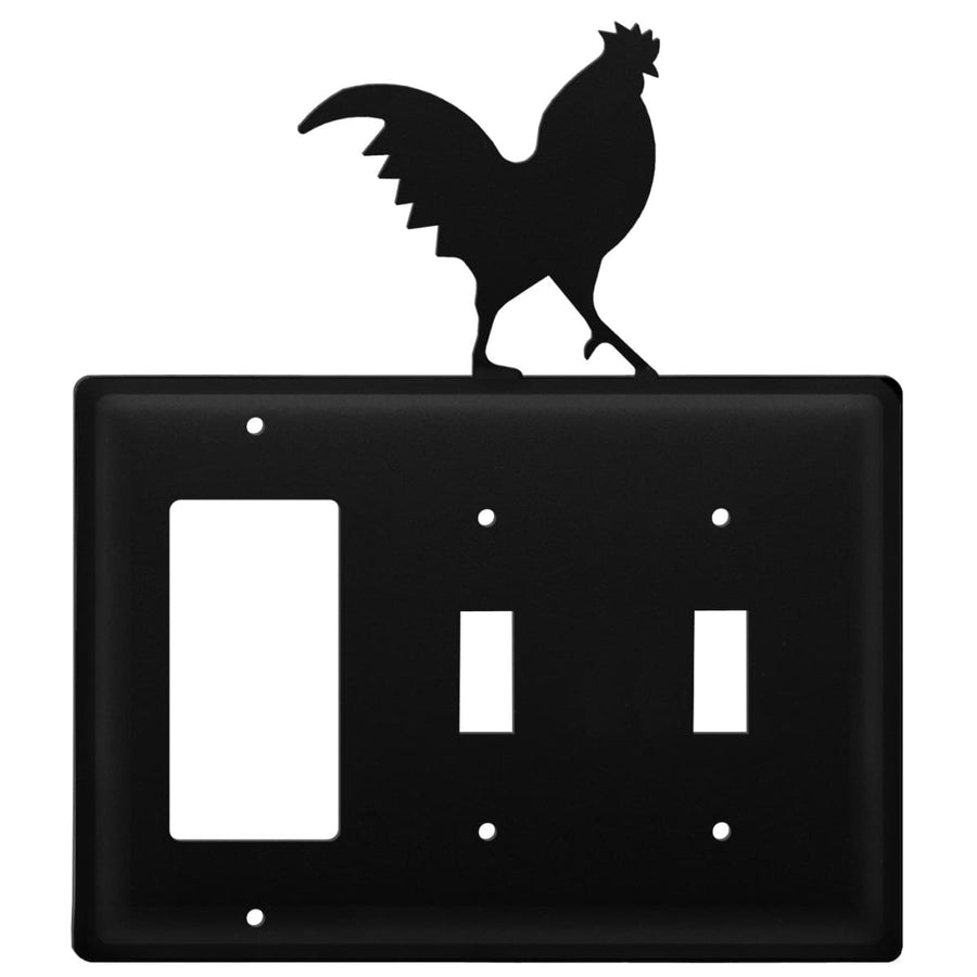 Wrought Iron Rooster GFCI Double Switch Cover light switch covers lightswitch covers outlet cover