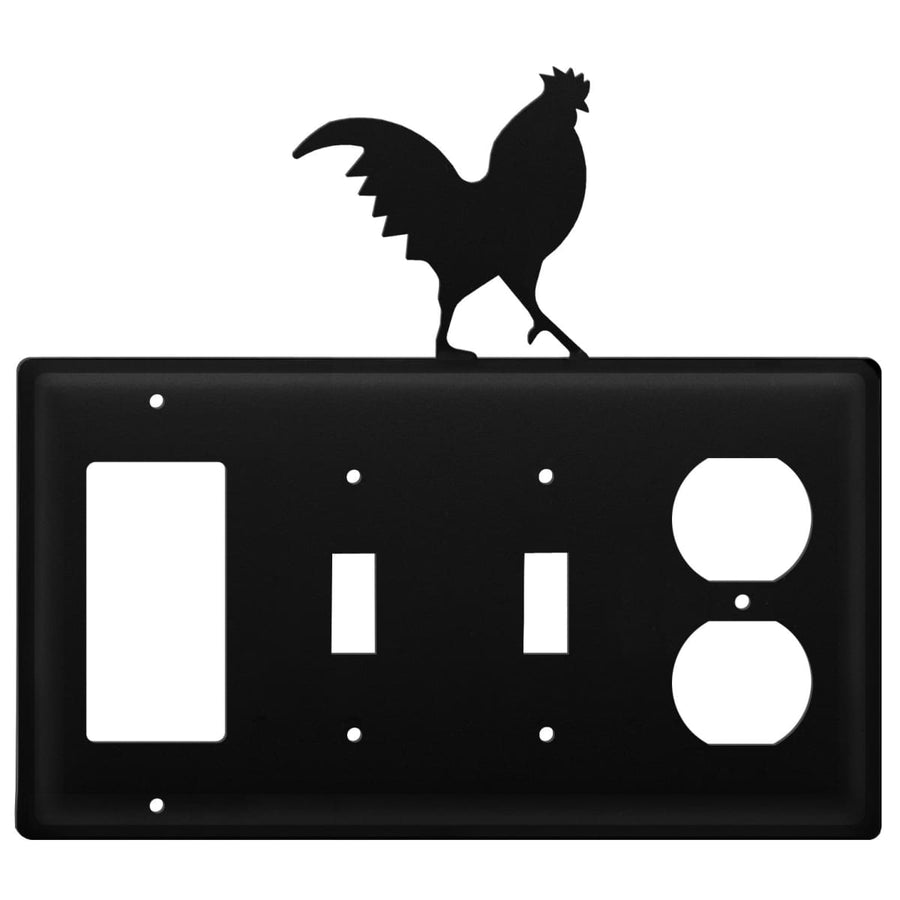 Wrought Iron Rooster GFCI Double Switch Outlet Cover light switch covers lightswitch covers outlet