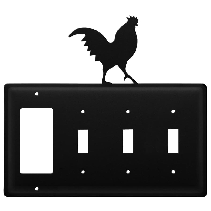 Wrought Iron Rooster GFCI Triple Switch Cover light switch covers lightswitch covers outlet cover