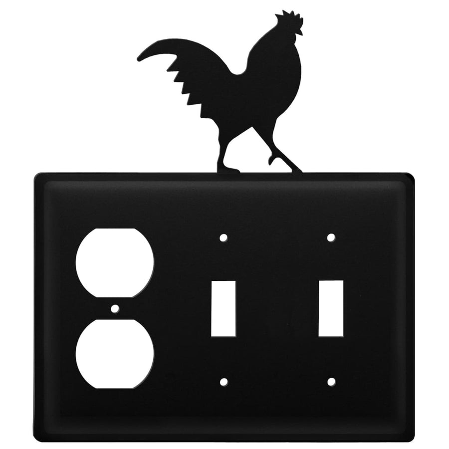 Wrought Iron Rooster Outlet Double Switch Cover light switch covers lightswitch covers outlet cover