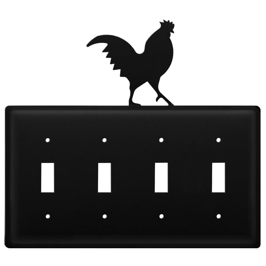 Wrought Iron Rooster Quad Switch Cover light switch covers lightswitch covers outlet cover switch