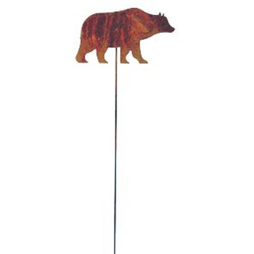 Wrought Iron Rusted Bear Garden Stake 35 Inches garden art garden decor garden ornaments garden