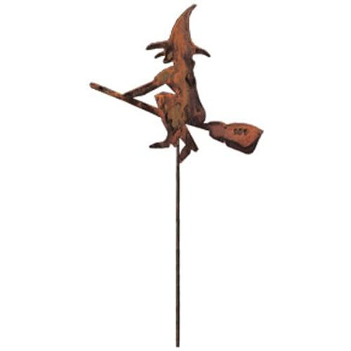 Wrought Iron Rusted Festive Witch Garden Stake 35 Inches Autumn Decorations garden art garden decor