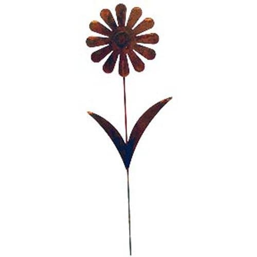 Wrought Iron Rusted Flower Garden Stake 35 Inches garden art garden decor garden ornaments garden