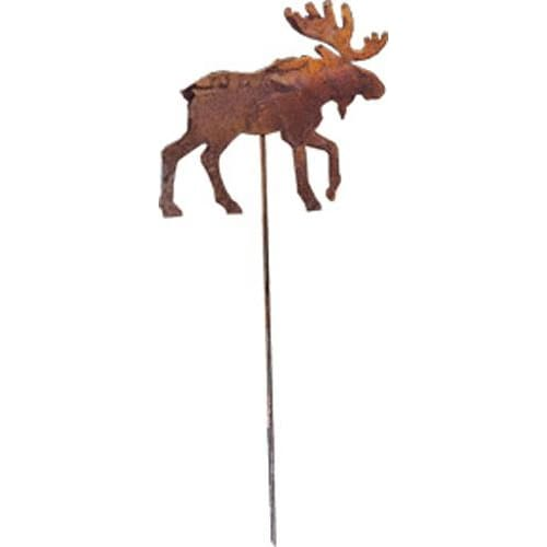 Wrought Iron Rusted Moose Garden Stake 35 Inches garden art garden decor garden ornaments garden