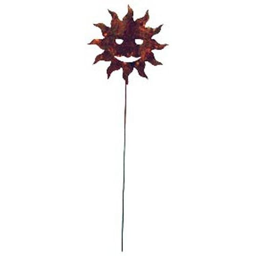 Wrought Iron Rusted Sun Garden Stake 35 Inches garden art garden decor garden ornaments garden stake