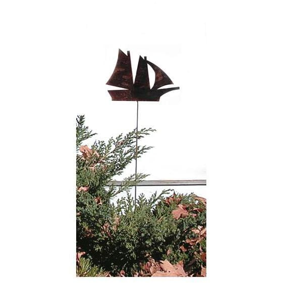 Wrought Iron Sail Boat Rusted Garden Stake 35 In garden art garden decor garden ornaments garden