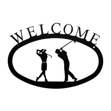 Wrought Iron Small Golf Couple Welcome Home Sign Small door signs outdoor signs welcome home sign