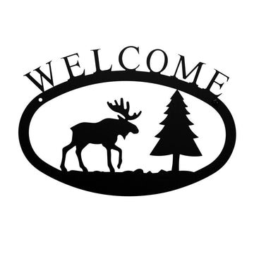 Wrought Iron Small Moose & Pine Welcome Home Sign Small door signs outdoor signs welcome home sign