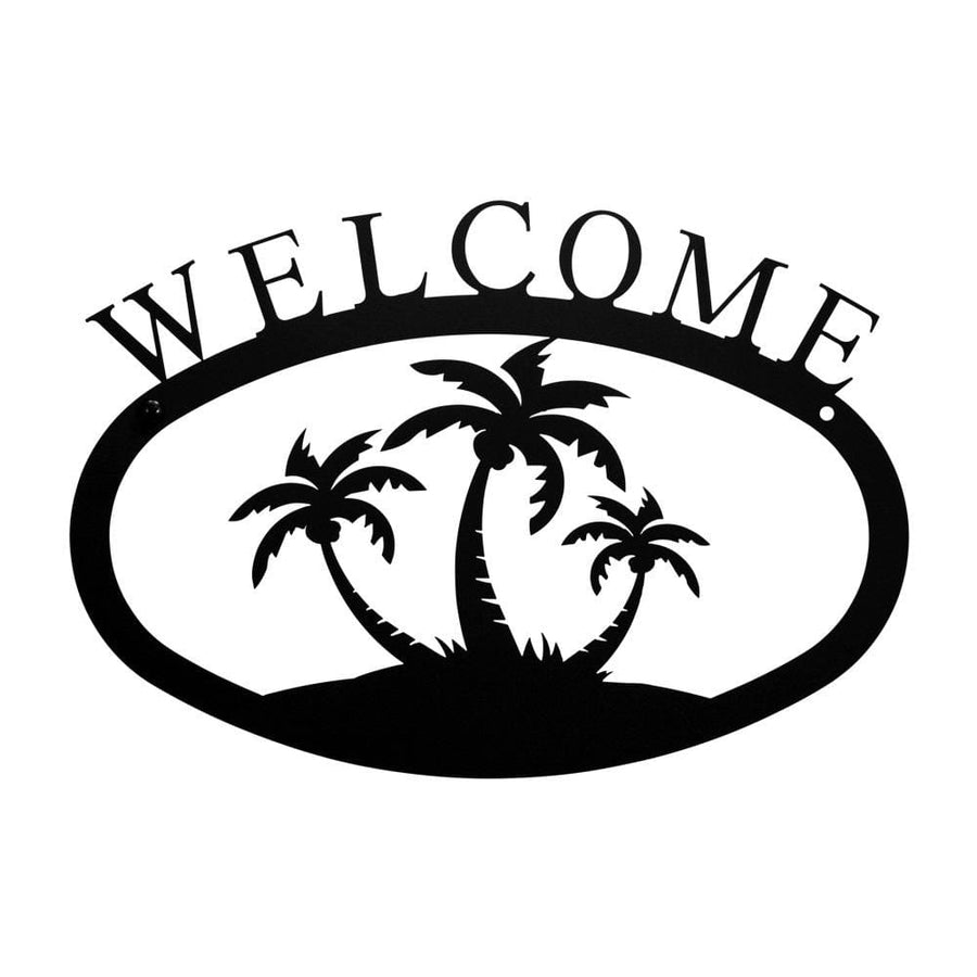Wrought Iron Small Palm Trees Welcome Home Sign Small door signs outdoor signs welcome home sign