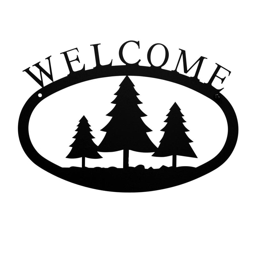 Wrought Iron Small Pine Trees Welcome Home Sign Small door signs outdoor signs welcome home sign