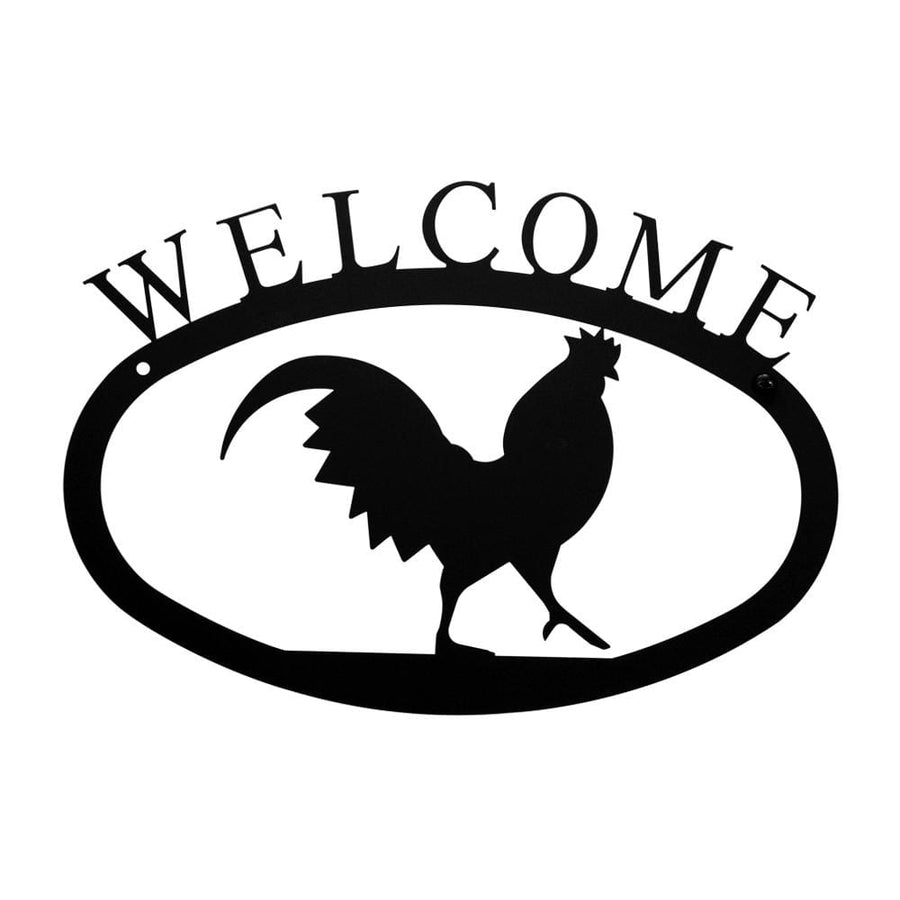 Wrought Iron Small Rooster Welcome Home Sign Small door signs outdoor signs welcome home sign