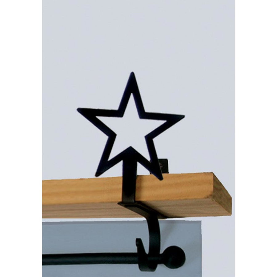 Wrought Iron Star Curtain Rod & Shelf Brackets Set curtain rod shelf bracket floating shelves shelf