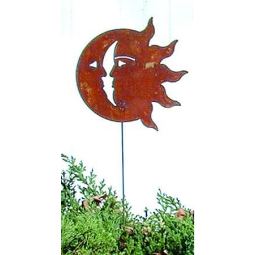 Wrought Iron Sun & Moon Rusted Garden Stake 35 Inches garden art garden decor garden ornaments