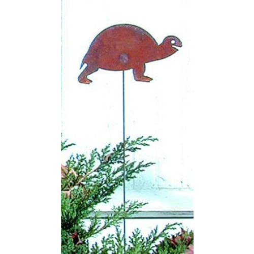 Wrought Iron Turtle Rusted Garden Stake 35 Inches garden art garden decor garden ornaments garden