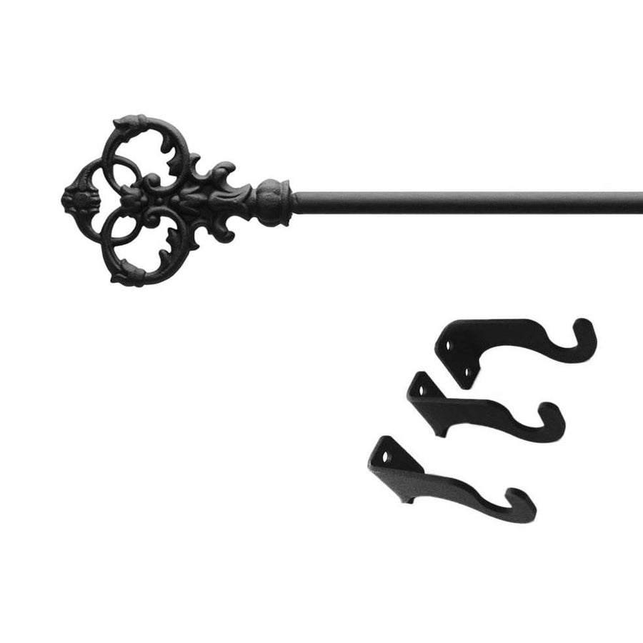 Wrought Iron Victorian Key Curtain Rod curtain poles curtain rails curtain rod dragonfly decor