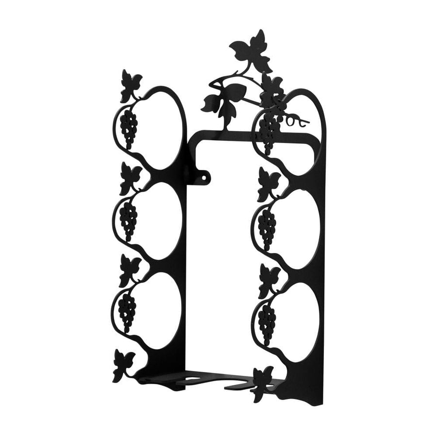 Wrought Iron Wall Mount Grapevine Wine Rack Small wine bottle and glass holder wine bottle holder