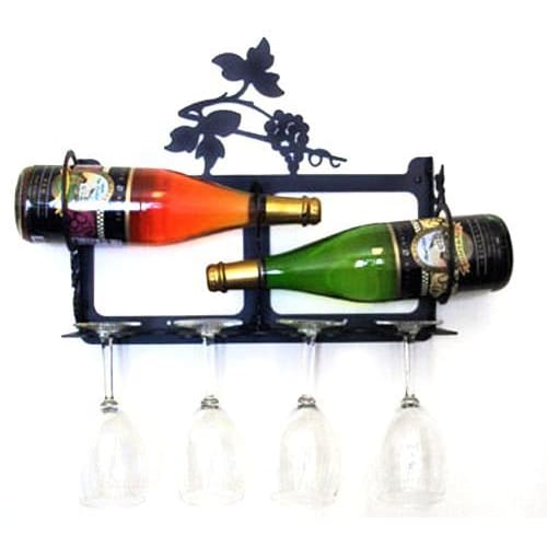 Wrought Iron Wall Mount Grapevine Wine Rack Xsmall wine bottle and glass holder wine bottle holder