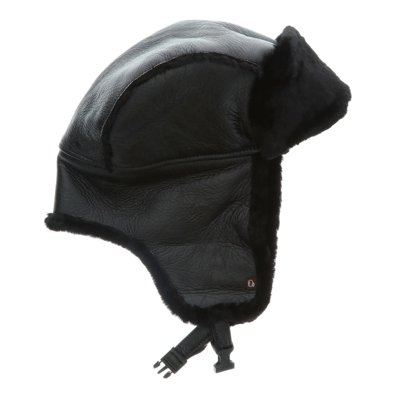 Men's Premium Australian Sheepskin Trooper Hat - S / Black - Lamo Footwear