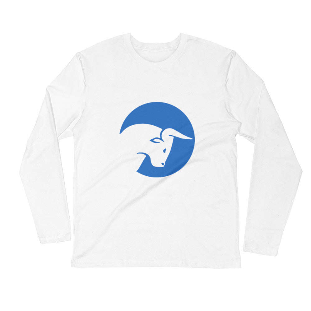 Live Traders Bull White Long Sleeve Fitted Crew