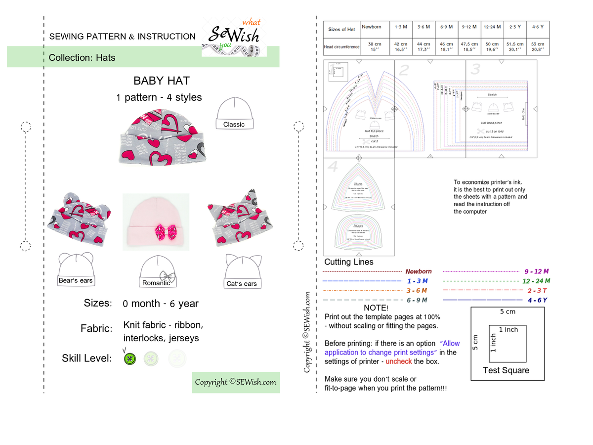 how to sew baby hat, pdf sewing pattern, baby hats patterns, easy sewing project for beginner