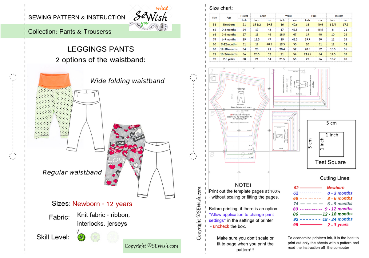 how to sew baby leggings, pdf sewing pattern, baby pants patterns, easy sewing project for beginner