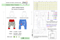 easy sewing project for beginner, pdf sewing patterns, baby harem pants, how to sew