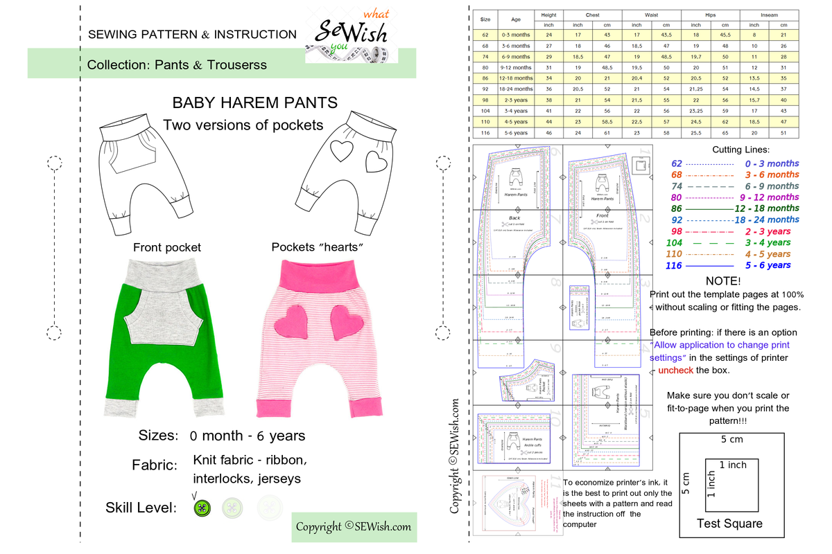 baby pants pdf sewing patterns, easy sewing project for beginner, how to sew harem pants
