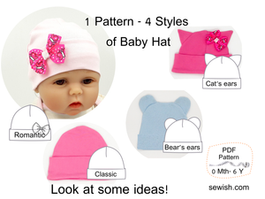 Baby Hat Beanie Sewing Patterns. Sizes NEWBORN - 6 YEARS