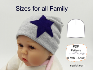 Slouchy Beanie Hat Sewing Pattern. Sizes NEWBORN - ADULT