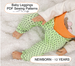 Leggings Baby Sewing Patterns for Girl and Boy Sizes NEWBORN - 12 YEARS