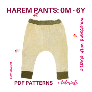 baby harem pants sewing patterns pdf, sewing pattern for boy, sewing pattern for girl