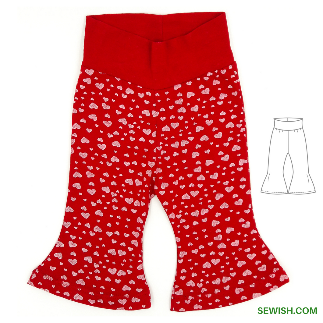 Flared Pants Baby Sewing Patterns,  Sizes 0 Month-6 YEARS