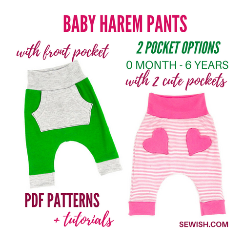Baby Harem Pants with Pockets Sewing Patterns. Sizes 0 Month-6 YEARS