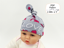 Baby Top Knot Hat Sewing Patterns. Sizes NEWBORN - 6 YEARS