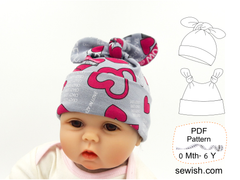 pdf sewing pattern for baby hats, newborn hats, easy sewing project for beginner
