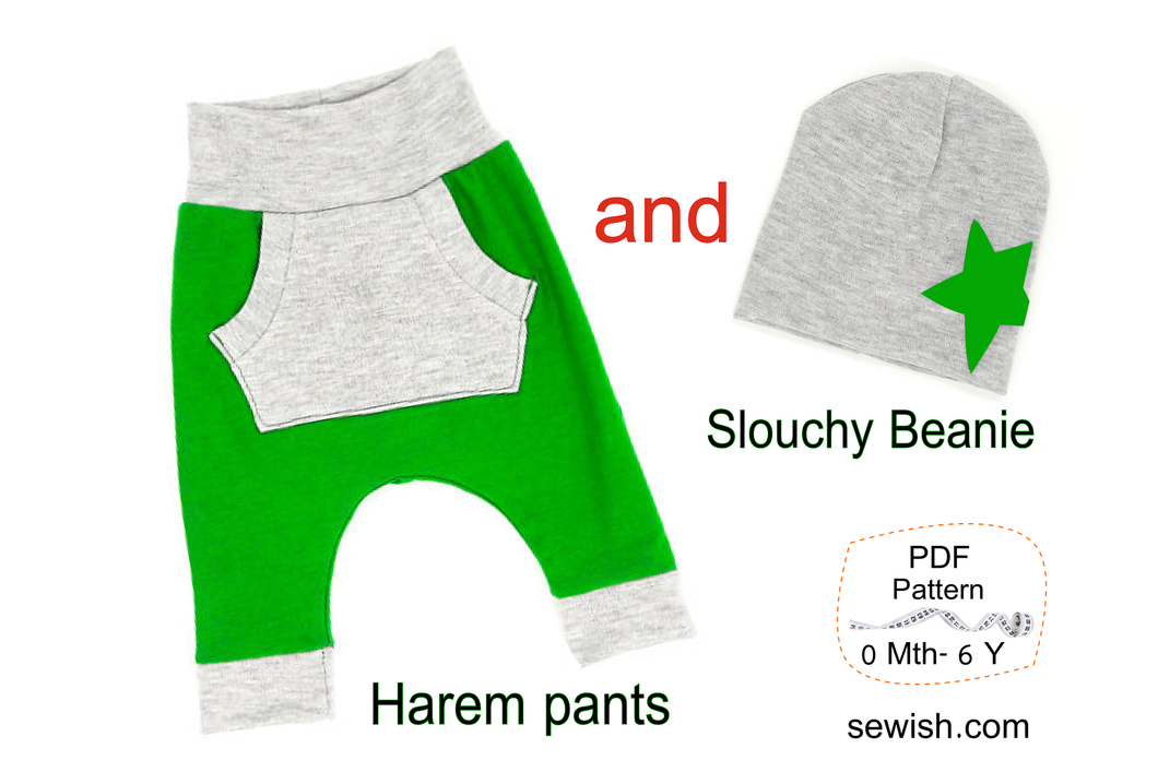 Baby Harem Pants & Baby Hat Slouchy Beanie Sewing Patterns. Sizes 0 Month-6 YEARS