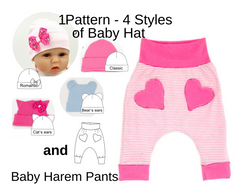 baby harem pants sewing pattern, baby hats patterns pdf, easy sewing project for beginner