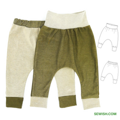 sewing pattern for baby harem pants, pdf patterns, easy sewing project for beginner