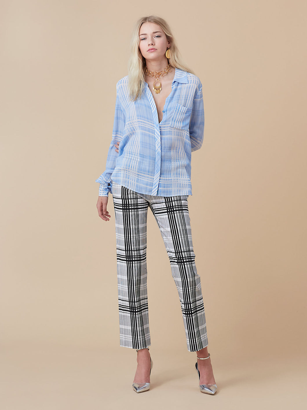DVF Carter Plaid Blouse