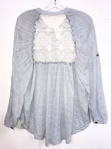 Free People Buttonup Pinstripe Blouse with Lace Back Size XS