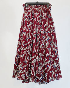 Red Floral Maxi Skirt - Size XS