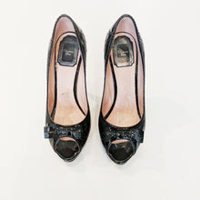 Christian Dior Black Patent Cannage Leather Bow Peep Toe Pumps