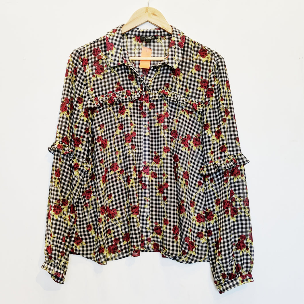 Topshop Checks and Roses Blouse