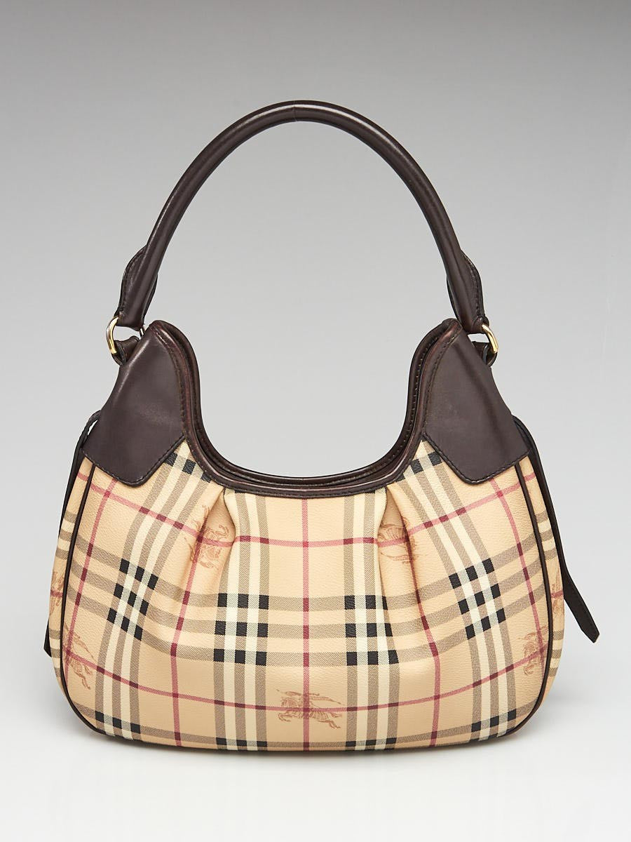 BURBERRY Haymarket Check Coated Canvas Brooklyn Hobo Bag