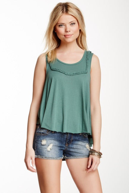 Free People Green Braided Tank