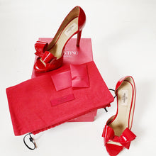 Valentino Couture Red Patent Leather Bow d'Orsay Peep Toe Pumps Size 38