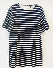 J Crew Black & White Stripe Knit Dress Size L