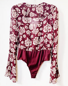 Band of Gypsies Cranberry Floral Bodysuit Size M