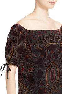 Alice + Olivia Alecia Paisley Velvet Off-the-Shoulder Top - Size L